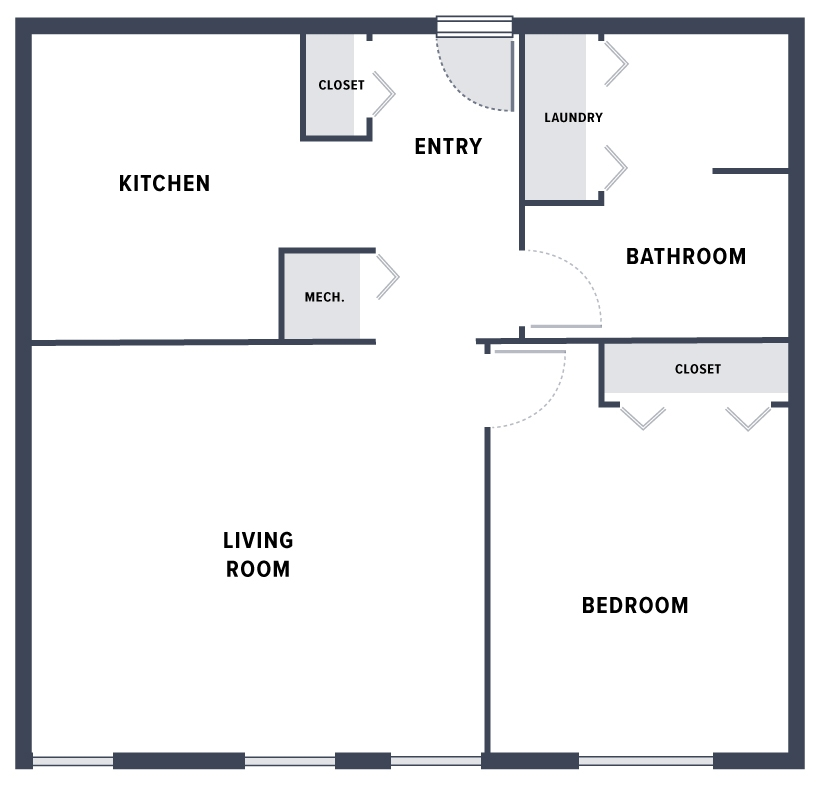 A sample floor plan of a 1-bedroom Braddock Apartments unit which includes: an entry flanked by a coat closet next to the kitchen, a bathroom which also contains a laundry closet, and a living room with natural lighting.