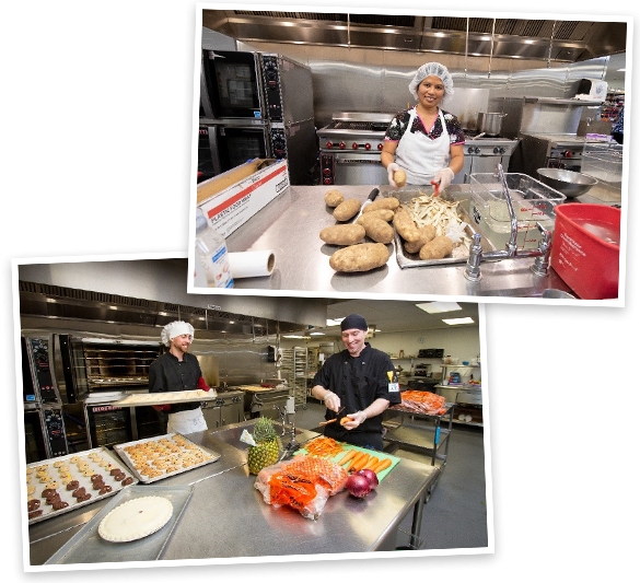 Good Shepherd kitchen staff prepares meals for residents.