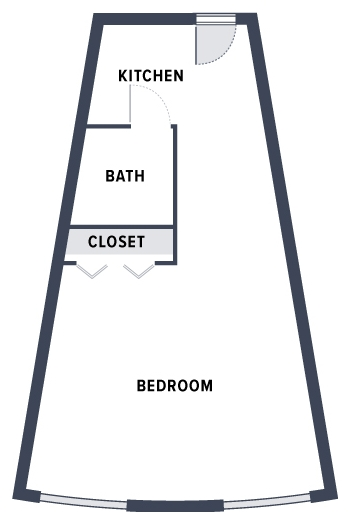A sample floorplan of Welty Home rooms featuring a modest bedroom with a closet, and a small kitchen connected to a bathroom.